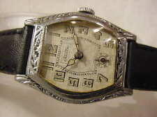 Vintage large antique pre 1920 Art Deco CHATEAU CADILLAC ENGRAVED mens watch NR