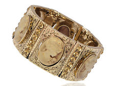 Cameo Lady Antique Gold   Topaz Crystal Rhinestone Cuff Bangle Bracelet
