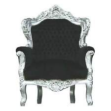 FRANCE BAROQUE STYLE ARMCHAIR - BLACK / SILVER