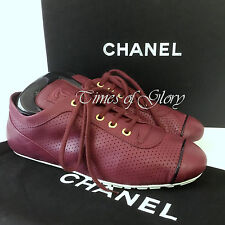 NEW Auth Chanel CC LOGO Burgundy Black Leather Trainers Sneakers Size 38 US7.5