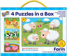 Galt 4 PUZZLES IN A BOX FARM Baby/Toddler/Child Jigsaw Shape Sorter Animal BN
