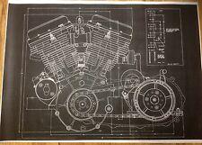 Harley Davidson Panhead Motor Blueprint Poster Print Picture Photo Beer Sign HD