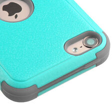 for iPod Touch 5th / 6th Gen TEAL GRAY High Impact Hard&Soft Rubber Hybrid Case