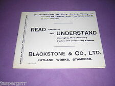 c1900. INSTRUCTION MANUAL FOR BLACKSTONE OIL ENGINES. ILLUSTRATED.