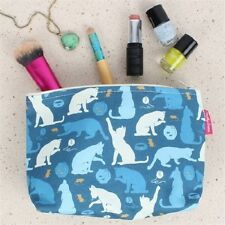 Milly Green Cats & Mice Cotton Cosmetics Make Up Wash Travel Flight Bag MG1066