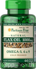 Puritan's Pride Natural Omega-3 Flaxseed Linseed Oil 1000mg 60Softgels MadeinUSA