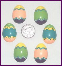 6PC CHEVRON POLKA DOT EASTER EGG EGGS RESINS FLAT BACK FLATBACK RESINS