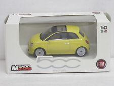Fiat 500 in gelb mit Glas-Schiebedach, Mondo Motors, OVP, 1:43