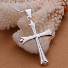 """925Sterling Silver Smooth Large Cross Men Women Pendant Necklace 18"""" NY290"""