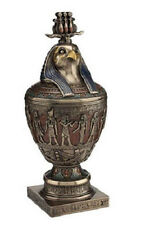 """13.75"""" Egyptian Canopic Jar W/ Triple Atef Crowned Horus Bust Cover Statue"""