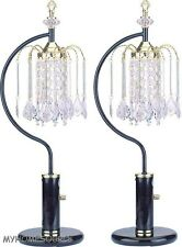 "27"" BLACK +BRASS RAIN DROP CHANDELIER TABLE LAMPS  **SHIPS FREE**"