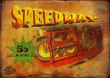 SPEEDWAY  VINTAGE STYLE FUNFAIR CIRCUS METAL SIGN MANCAVE HIS/HERS GIFT