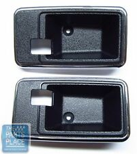 77-81 GM F Body Standard Door Handle Escutcheon - Thick Chrome Edge Black - Pair