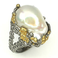 Handmade Big Baroque 21x17 Mm Creamy White Pearl 925 Sterling Silver Ring Size 7