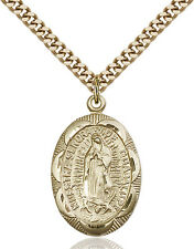 14K Gold Filled Our Lady Guadalupe Virgin Mary Medal Necklace Pendant