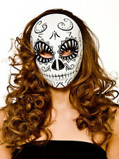 Uomo Donna Halloween Giorno dei Morti Full Face Mask FANCY DRESS ACCESSORIO NUOVO