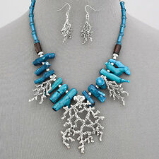 Turquoise Silver Sea Theme Clam Coral Reefs Statement Necklace With Earrings