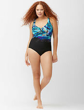 BLUE~22W~3X~ATTITUDE ESCAPE Miraclesuit Plus Lane Bryant One Piece Swimsuit!