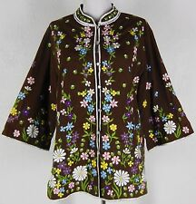 "vtg 60s 70s CHUCHI Embroidered Tunic Jacket 40""B L Tab Collar Floral Hippie"
