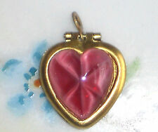 Vintage Heart Locket Pendant Pink Moonstone Flowers NOS Gold Tone Star #1263F