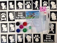 GLITTER TATTOO KIT PAW PATROL  40 stencils glitters glue UK made prof quality