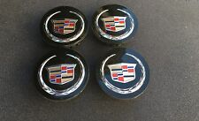 NEW SET OF 4 CADILLAC CADI BLACK CENTER WHEELS HUB CAPS LOGO 9597375 / 9596629