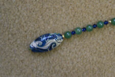 Scissor Fob - Green and blue art deco glass bead with Swarovski crystals
