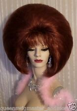 Drag Queen Wig Double Bob Dark Auburn Teased Out With Bangs