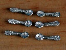 Pewter Tea Spoons Pack of Six, Dolls House Miniatures, 10mm Length. Kitchen