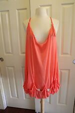 FREE PEOPLE Summer Boho ruffled Swim cover up hippie gypsy Coachella Dress Sz XS