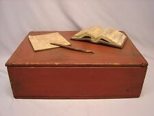 Vintage Primitive Folk Art Box w Hand Carvings of an Open Book, Paper & Pen