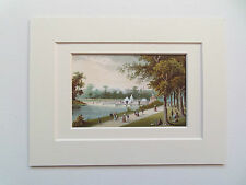 KENSINGTON GARDENS-ANTIQUE LONDON CHROMO- 6x8 double mount  DATED 1888