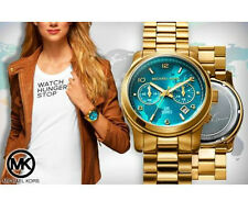 Michael Kors MK5815 Gold Tone Turquoise Blue Dial Women's wrist Watch + Box