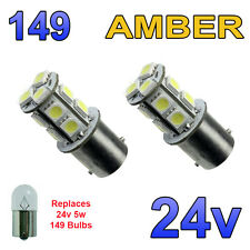 2 x Amber 24v LED BA15s 149 R5W 13 SMD Number Plate Interior Bulbs HGV Truck
