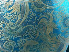 "TURQUOISE GOLD PAISLEY METALLIC BROCADE FABRIC 60"" WIDE 1 YARD"