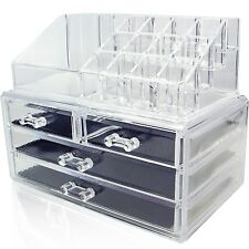 Cosmetic Storage Large 4 Drawers Jewelry Chest Make Up Case Organizer 2 pcs NEW