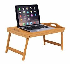 Portable Folding Lap Desk Bamboo Laptop Breakfast Tray Natural Bed Table St