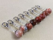 Removable Clip-On Red Agate Stitch Markers - For Knit Or Crochet