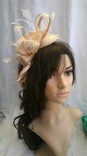 Nude Biege tone Feather Fascinator.rosette on a headband..for wedding races..new
