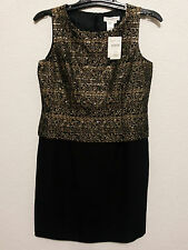 Coldwater Creek Womens Dress P10 Sheath Cocktail Party Wear Black & Gold - NEW
