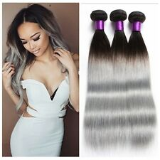 "New 1B/GREY Straight Ombre Real Human Hair Weave Extension 50G 12"" Black To Grey"