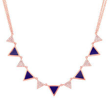 Womens 14K Rose Gold Diamond and Alternating Triangle Lapis Lazuli Necklace