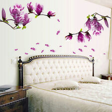 Magnolia Pattern Removable Wall Stickers for Bedroom Backdrop TV FT
