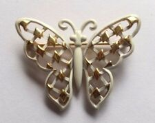 VINTAGE TRIFARI WHITE ENAMEL & SHINY GOLD TONE BUTTERFLY BROOCH-SIGNED