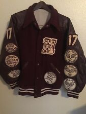 Vintage High School Varsity Letterman Jacket Maroon White Wool Letters 80's