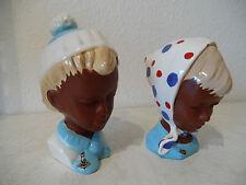 Zwei sehr seltene Keramik Köpfe CORTENDORF Büsten Mädchen u. Junge 50er (B242)