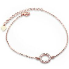 Trendy! Rose Gold Plated Cubic Zirconia Circle .925 Sterling Silver Bracelet