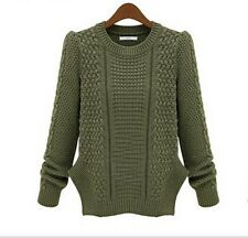 Women Retro Cable Knit Long Sleeves Winter Jumper Sweater