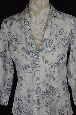 Cato Womens Medium White Gray Flower Deep V-neck Long Sleeve Shirt Fitted