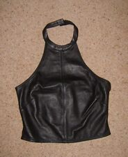 Ladies Black Real 100% Leather Halterneck Top Sleeveless Vest Size S Used